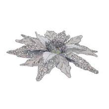 Silver Poinsettia Glass Votive Holder