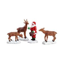 Lemax Village Collection Santa Feeds Reindeer, Set of 4 #52146