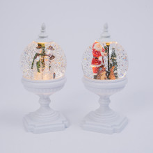 Pedestal Water Globe with Holiday Scene