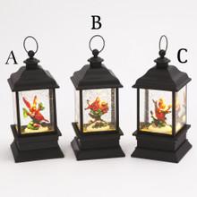 Lantern Water Globe with Cardinal Scene
