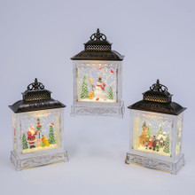 Musical Rustic Lantern with Holiday Scene