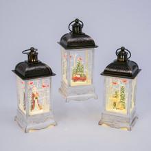 White Vintage Style Lantern Water Globe