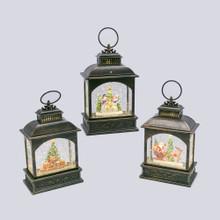 Black Vintage Style Lantern with Christmas Scene