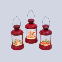 Musical Red Lantern Water Globe with Holiday Scene