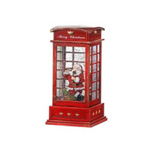 LED B/O Santa in Phone Booth Water Globe with Timer