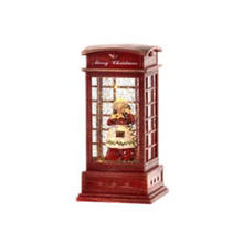 LED B/O Mrs. Claus in Phone Booth Water Globe with Timer