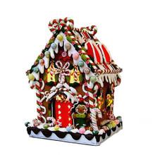 kurt adler gingerbread lighted christmas candy house j3588 - Indoor Animated Christmas Figures