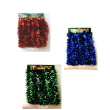 15ft Red / Blue / Green Soft & Silky Tinsel Garland