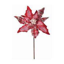 Frosted Plaid Velvet Poinsettia #MTX56550