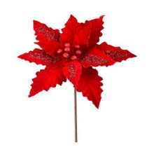Red Velvet Sequin Stripe Poinsettia Stem #MTX59379