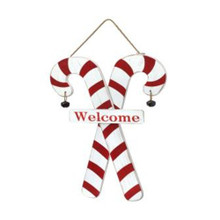 Candy Cane Welcome Hanging Wall Piece #MTX59962