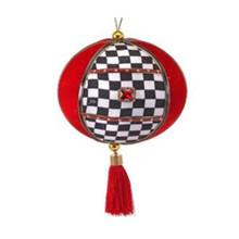 Velvet Harlequin Check Ball Tassel Ornament #MTX61782
