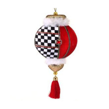 Velvet Harlequin Check Finial Tassel Ornament #MTX61783