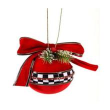 Velvet Harlequin Check Ball Ribbon Ornament #MTX61784