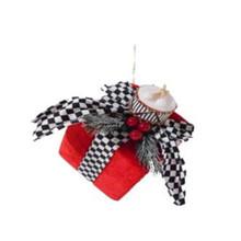 Velvet Harlequin Check Package Ornament #MTX61785