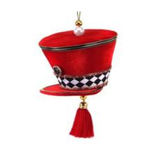 Velvet Harlequin Check Soldier Hat Ornament #MTX61786