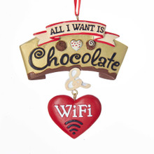 Kurt Adler All I Want is Chocolate & Wifi Ornament #A1771
