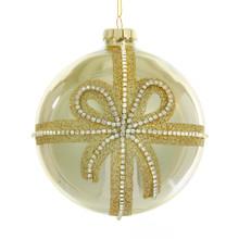 Kurt Adler Glass Gold Ribbon Ball Ornament with Clear Jewels #C4829