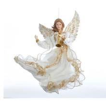 Kurt Adler 12in White & Gold Flying Angel Ornament #J6064