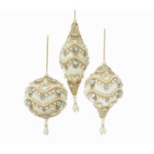 Kurt Adler Silver White & Gold Ball / Onion / Finial Ornament #S4361