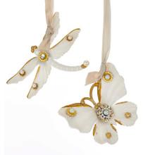 Kurt Adler White & Gold Dragonfly / Butterfly Ornament #T2316