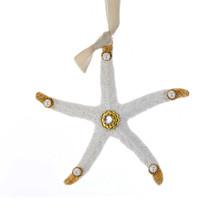 Kurt Adler White & Gold Pearl Trim Starfish Ornament #T2334
