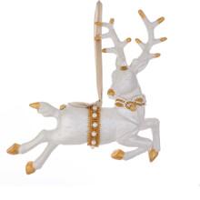 Kurt Adler White & Gold Flying Deer Ornament #T2342