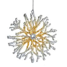 Kurt Adler Silver & Gold Coral Snowflake Ornament #T2620