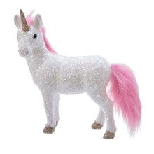 Kurt Adler White Unicorn with Pink Tail Table Piece #C0791