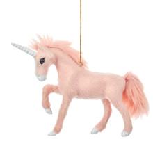Kurt Adler Furry Pink Unicorn Ornament #C4821