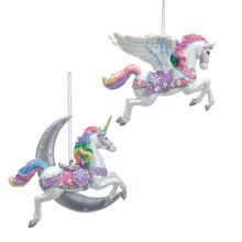 Kurt Adler Celestial Pastel Unicorn / Pegasus Ornament #E0276