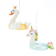 Kurt Adler Noble Gems Glass Swan / Unicorn Ornament #NB1465