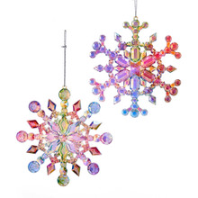 Kurt Adler Multi Iridescent Snowflake Ornament Set of 2 #T2470