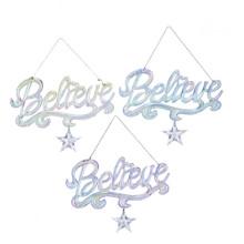 Kurt Adler Iridescent Believe Word Ornament #T2518