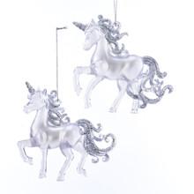 Kurt Adler Glittering Clear Unicorn Ornament Set of 2 #T2523