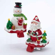 Kurt Adler Santa & Snowman Stocking Hanger #D2154