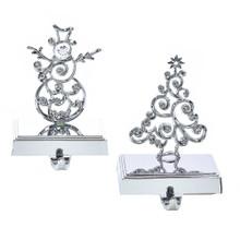 Kurt Adler Silver Metal Tree / Snowman Stocking Holder #J5040