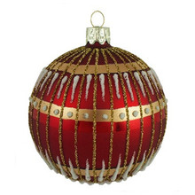 Red and Gold Detail Glass Ball Ornaments, 4 Pack