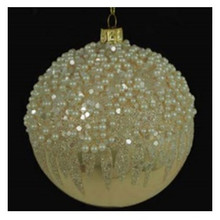 Gold Beaded Glass Ball Ornaments, 4 Pack