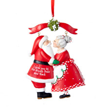 Kurt Adler Mr & Mrs Santa Under Mistletoe Ornament #C8800