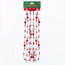Kurt Adler 9ft Red & Silver Round Faceted Beaded Garland #H0264