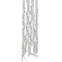 Kurt Adler 9ft Silver & White Iridescent Twisted Beaded Garland #H0274