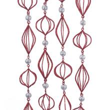 Kurt Adler 6ft Red & Silver Finial Garland #H7502