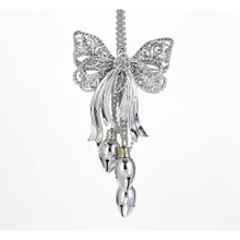 Kurt Adler Silver Tinsel Bow with Bells Ornament #T1899