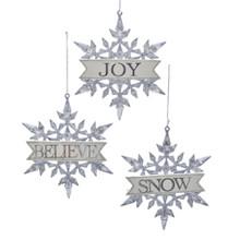 Kurt Adler Snowflake with Sign Ornament #T2662