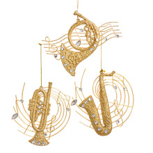 Kurt Adler Gold Musical Instrument Ornament #T2591
