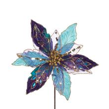 Kurt Adler Peacock & Platinum Poinsettia Pick #B4097