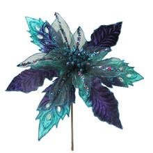 Kurt Adler Peacock Poinsettia Pick #B4102