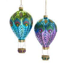 Kurt Adler Glass Peacock Hot Air Balloon Ornament #J8530