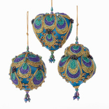 Kurt Adler Peacock Heart / Ball / Dome Ornament #S3719